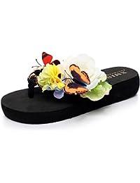 Yooeen Damen Sommer Flip Zehentrenner Mädchen Plattorm Keilabsatz Urlaub Thongs Schuhe Flipflops