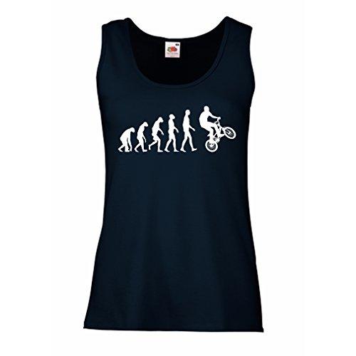 Radfahren Fitted T-shirt (lepni.me Damen Tank-Top Evolution des Menschen und an der Spitze - das Fahrrad – Radfahren T-shirt – Fahrrad-Zubehör/Fahrradbekleidung (Large Blau Mehrfarben))