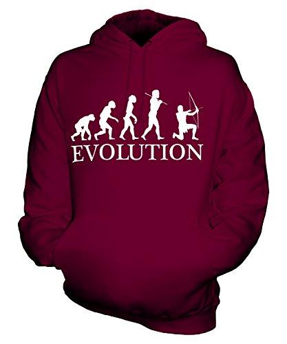 CandyMix Bogenschießen Bogenschütze Evolution Des Menschen Unisex Herren Damen Kapuzenpullover, Größe Medium, Farbe Burgunderrot