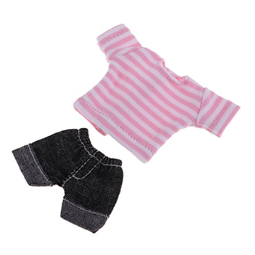 D DOLITY 2pcs/Set Puppe Kleidung, Mini Gestreifte T-Shirt + Kurze Jeans Hose, Zweiteilige Outfits Für Mini Blythe, Obitsu11 Puppe - Rosa -