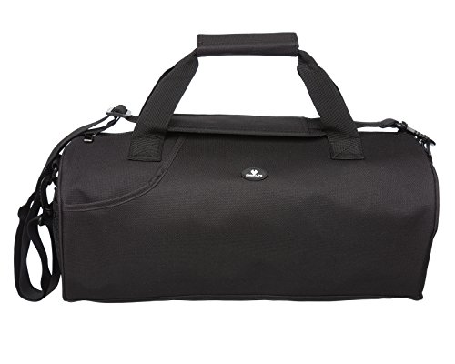 Case4Life Lightweight Black Water Resistant Duffle Gym Bag + Padded Removable Shoulder Strap - Lifetime Warranty