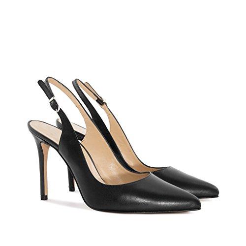EDEFS - Scarpe col tacco donna - Scarpe con Cinturino dietro la Caviglia - Donna Slingback Scarpe Nero