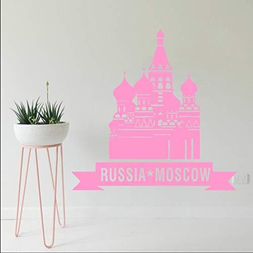 Geiqianjiumai Vinyl Aufkleber Wandtattoo Poster Design Stadt Skyline Interieur Russland Moskau Weltreise Wandtattoo Aufkleber Rosa 41x42cm