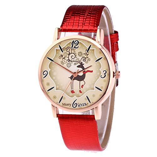 Hffan Mädchen Damen Uhr Damenuhr Weihnachtsuhr Dschungel Elch Schön Billig Schau zu Modisch Casual Uhren Weihnachten(Rot,One size)