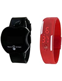 SPINOZA N01K043 Black Apple Shap Kid With Red Slim Digital Watch For Boys And Girls