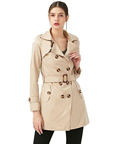KENANCY Damen Klassischer Doppel-breasted Trenchcoat Kurzmantel Winter Jacke Elegante Mantel mit Gürtel Große Größen Schwarz (50er Jahre Jacke Leder)