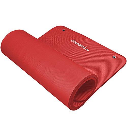 #ScSPORTS Gymnastikmatte 185 x 80 x 1,5 cm, mit Ösen, rot#