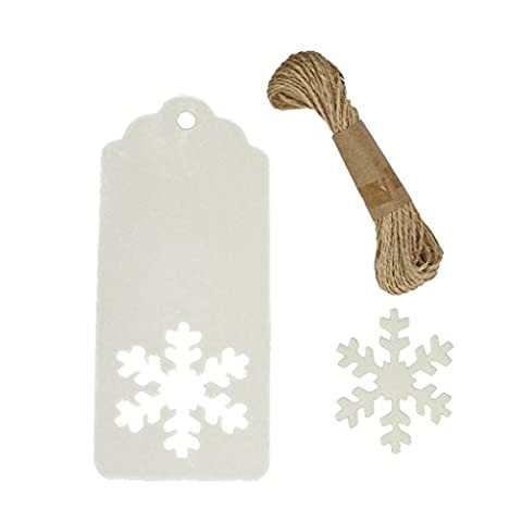 eKunSTreet ® 50Pcs White Hollowed Snowflake Gift Tags 40mmx90mm Blank Cards with Jute String - Shabby chic Wedding Favour,Baby Shower, Christening, Christmas DIY Tags, Luggage labels,Wishing Tree Hang Tag, Store Price Tag