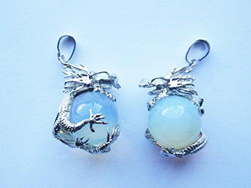1 x Sea Opal Gemstone /& Tibetan Silver ICE DRAGON 35mm Charm Pendant