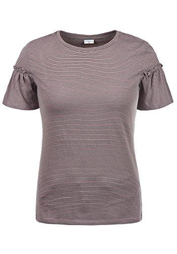 ONLY Linn Damen T-Shirt Streifenshirt Kurzarm Shirt Mit Rundhalsausschnitt Und Volantärmel, Größe:XL, Farbe:Quail