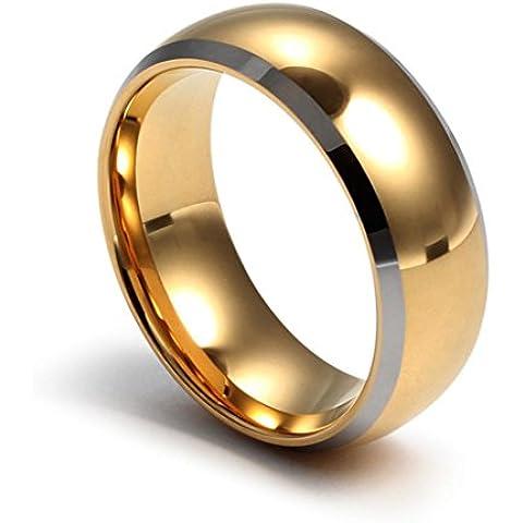 YKQJING Anillo de oro tungsteno chapado en oro de los hombres alta calidad nuevo 8mm de ancho
