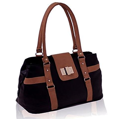 Xardi London Black/Tan New Medium Womens Shoulder Day Bags Leather Style Ladies Work Designer