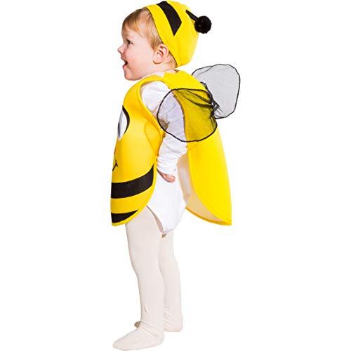 Amakando Süßes Bienen-Kostüm für Kinder bestehend aus Überwurf und Mütze / Gelb-Schwarz in Größe 104, 3 - 4 Jahre / Goldiges Outfit für Mädchen & Jungen / EIN Blickfang zu Kinder-Fasching & Fasnet (Kostüm Biene Jungen)
