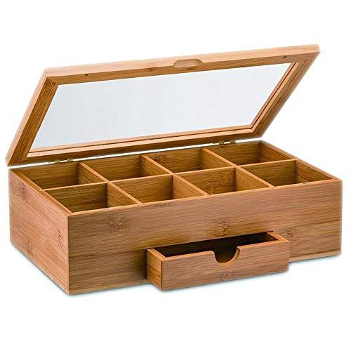 Generic Thé C Bois Thé Olid L Organiseur en Bois Massif à thé Portable Cells Bambou Dra Café Boîte de Rangement en Bambou Min Mini tiroir