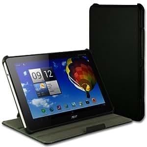 EasyAcc Acer A510 Tasche hülle Case Cover für Acer iconia tab A510 A511 A700 10.1 inch Tablet PC mit Ständer (schwarz, PU Leder, Ultra Slim)