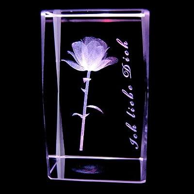 3D Laser Kristall Glasblock mit LED Beleuchtung - Rose Schriftzug ICH LIEBE DICH von LED & Glas by Kaltner Präsente