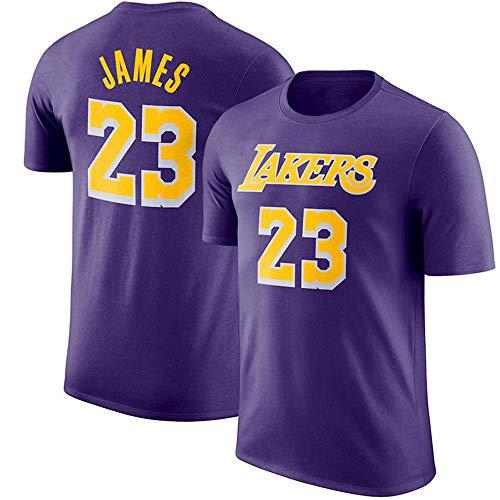 Herren T-Shirt NBA Los Angeles Lakers Lebron James Jersey Rundhals Atmungsaktives Basketball-Shirt für die Jugend Top Komfortables Sport-T-Shirt Purple-XXL -