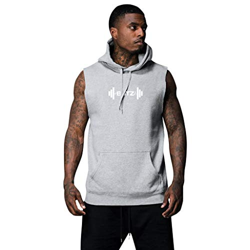 HHyyq Men's Hooded Vest Summer Men Fashion Letter Print Hoodie Crop Top Sleeveless Pocket Blouse Casual T-Shirt for Men(Grau,L) -