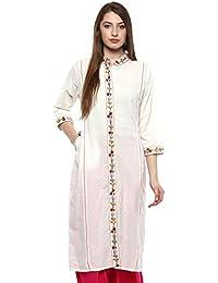 Chhipaprints 100% Cotton Embroidery Work White Women Kurta