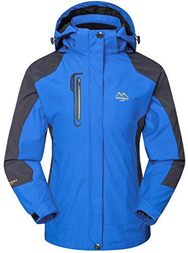 Mochoose Damen Outdoor Mountain Wasserdichte Windbreaker Jacken Softshell Ski Kapuzenjacke Sportbekleidung Regenmantel Camping Angeln Jagd Arbeitsjacke(Himmelblau,L)