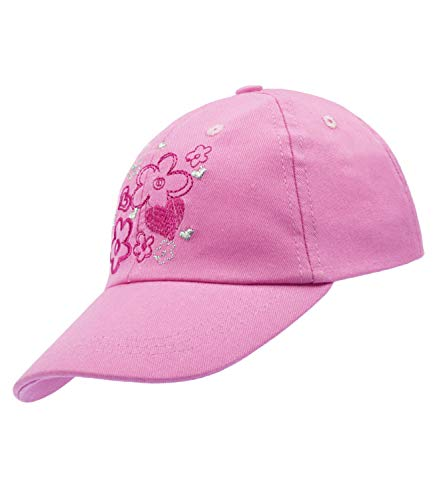 EveryHead Fiebig Mädchenbasecap Basecap Baseballcap Schirmmütze Schildmütze Sportmütze Frühjahr einfarbig mit Blümchen für Kinder (FI-85438-S19-MA0-74-55) in Rose, Größe 55...