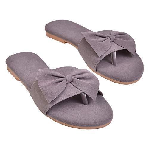 BK DREAM Women's Fashion Flat Sandals Grey