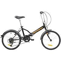F.lli Schiano Pure, Bici Pieghevole Unisex Adulto, Nero-Arancio, 20''