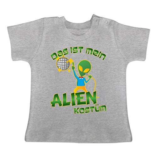 Karneval und Fasching Baby - Das ist Mein Alien Kostüm Disco - 1-3 Monate - Grau meliert - BZ02 - Baby T-Shirt Kurzarm