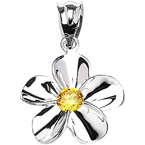 Donne Collana Pendente 14 Ct Bianco Oro Hawaiano Plumeria Citrino (Viene Fornito Con Una Catena Da 45cm)