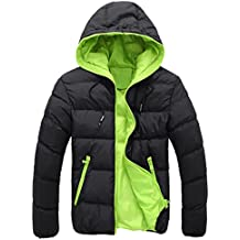 Chaquetas de hombre, Manadlian Hombres Abrigo grueso invierno con capucha Delgado Casual Una chaqueta abrigada Anorak Sobretodo con capucha (XL, Verde)