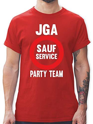 JGA Junggesellenabschied - JGA Sauf Service - Party Team - M - Rot - L190 - Herren T-Shirt und Männer Tshirt