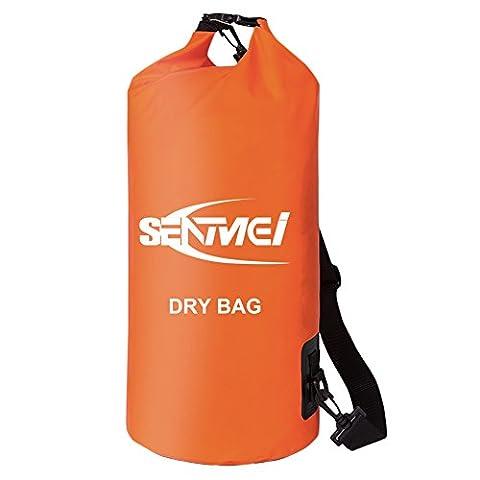 SENMEI Sac Étanche pour Activités de Plein Air et Eaux, Résistant PVC Sac imperméable avec Bandoulière Réglable pour Kayak, Camping, Pêche, Canoë et Rafting (Orange, 20L)