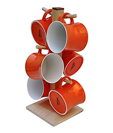 Tibros Orange 6 hook peg wooden Hanging Tea Cup Coffee Mug Tree Rack Holder Kitchen Storage ( THE ORANGE COLOR MAY VARY IN REAL)