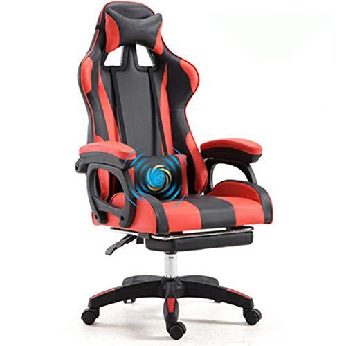 HEIFEN E-Sport-Stuhl, Sportwagenform, ineinandergreifendes Armlehnendesign, Komfortables Kohlefaser-Ledermaterial, Komfortables Latex-Sitzkissen, um 360 ° drehbar, Büro zu Hause Black red