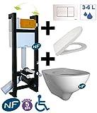 TubConcept - Pack WC suspendu autoportant EVO - Bâti-support + Cuvette + abattant +...