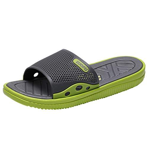 Skxinn Herren Badeschuhe Hausschuhe Slippers Sommer Slide Pantoletten Badelatschen Gartenschuhe Strand Indoor/Outdoor rutschfest Baden Gr 40-45(Grün,41 EU)