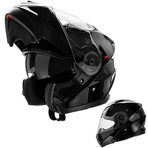 CRUIZER - Casco per moto omologato modulare di colore nero opaco, doppia visiera, prese d'aria sulla calotta e mentoliera (M)