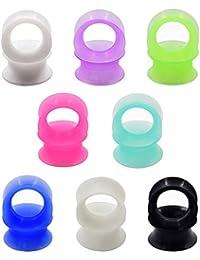 "D&M Jewelry 16 Piezas de Delgada Silicona 6g-1"" Flexible Expansor de Túnel de Diferentes Colores Ear Plug Pendientes de Oreja Piercing"