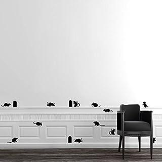 Asenart Schwarz Mäuse und Loch Wandtattoo Home Amazing Decor 35,6x 55,9cm