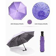 lzndeal Cierre automático portátil Impermeable Anti-UV Plegable de Paraguas de Lluvia para el Viaje