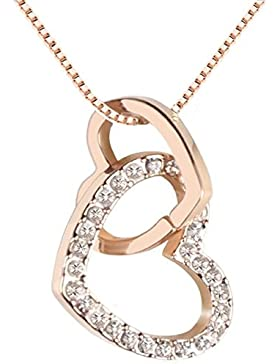 QUADIVA E! Damen Halskette Herzkette Kette mit Anhänger Herz (Farbe: rosegold) verziert mit funkelnden Kristallen...