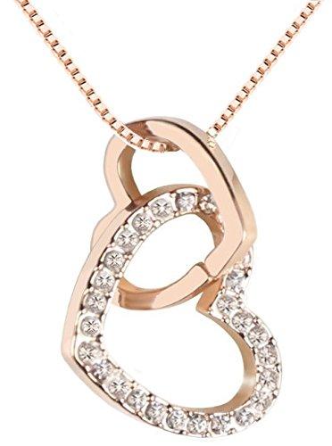 QUADIVA E! Damen Halskette Herzkette Kette mit Anhänger Herz (Farbe: Rosegold) verziert mit funkelnden Kristallen von Swarovski® (Herz Kristall-halskette)