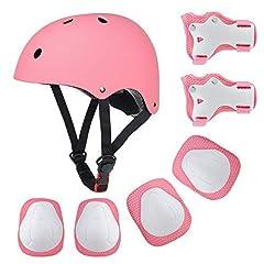 Idea Regalo - Fstoption Casco Bici Protezioni Set per Bambini Regolabile Gomitiere Polso Ginocchiere per Skateboard Pattini in Linea Bicicletta Protezione Bambina