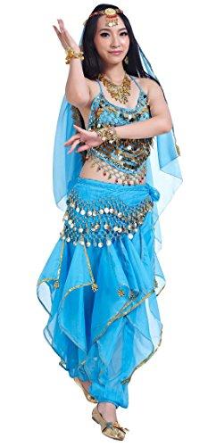 BELLYQUEEN Mujer Traje Danza del Vientre Belly Dance Set 2 Top Lentejuelas Pantalones Disfraz Carnaval Fiesta - Azul