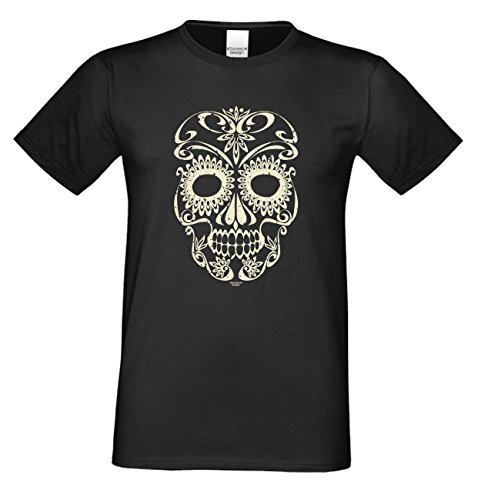Skull ::: Lustiges Halloween-Kostüm-Fun-Sprüche-T-Shirt für Herren Teenager Party-Outfit-Bekleidung auch Übergrößen Farbe: schwarz Schwarz