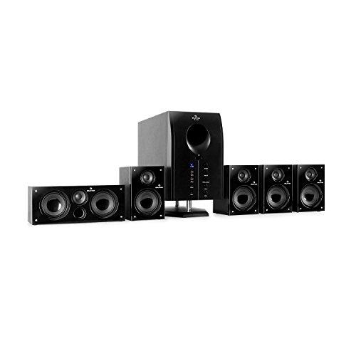 auna Areal 525 BK • Heimkinosystem • 5.1 Surround Sound System • 125 Watt RMS • Aktiv-Mono-Subwoofer • 13,5 cm (5,25
