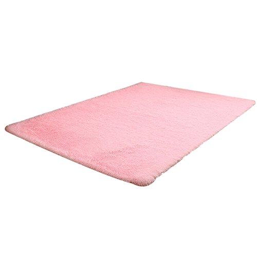Ularma Piso alfombra, mullida antideslizante Shaggy alfombra para comedor y dormitorio (rosa)