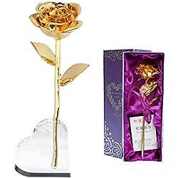 Aolvo Valentinstagsgeschenk, 24k Gold Folien-Rose mit Herz Display Ständer in exquisiter Geschenkbox Valentinstag, Danksagung, Jahrestag, Muttertag, Geburtstag (Golden)