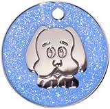 Pet-Tags Bow Wow Meow mit Personalisierung Blaue Hundemarke Glitzerndes Hundegesicht (Mittel) | GRAVURSERVICE | Personalisierte, Reflektierende, Glitzernde Haustiermarken