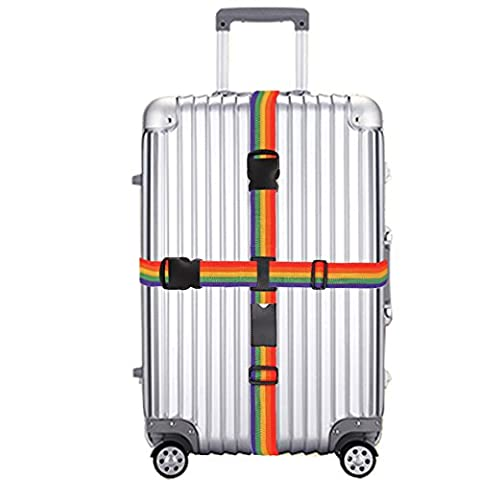 Luggage Strap, Cross Style Rainbow Adjustable Packing Belts Heavy Duty Long Suitcase Bag Security